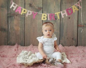 Pink + Gold Happy Birthday Glitter Banner
