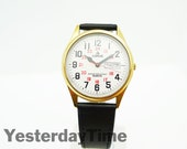 Pulsar 1980's Day and Date Gents Quartz V533-8020 Railway Dial Watch