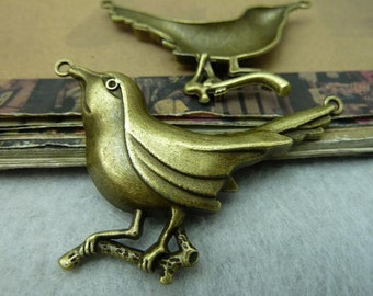 5pcs Bird Charms,  Antique Brass Woodpecker Charms Pendant, 36x54mm Antique Bronze Bird Charms Connectors