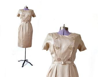 1960s  Gold Dress / 60s Dress / Satin Dress / Dress / Yellow Dress / Mustard Dress / Vintage Clothing Dress / Womens Clothing Dress