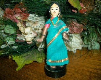 Maharani Doll Indian Woman Wearing Teal Silk Sari Hand Painted Wooden Figurine Collectible Heritage Keepsake