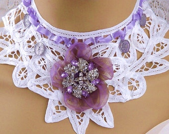 White Lace Choker Collar-Wedding/Bridal Accessories-Country Chic Lace Choker-Wisteria/White-Lace & Jewelry Choker-Lace Choker-Lace Collar