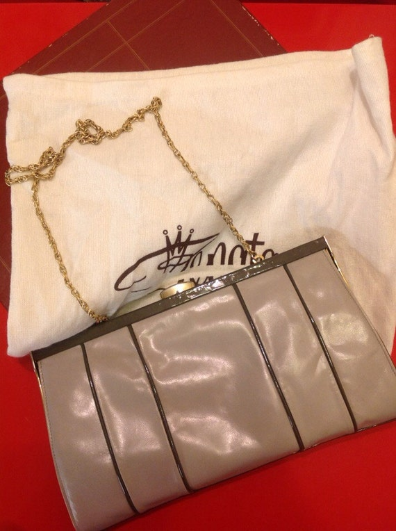 Vintage grey leather bag shoulder purse chain handle handbag two tone gray original box vintage Wedding guest 70s 80s Disco