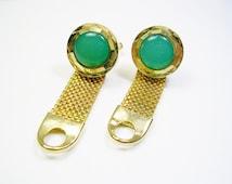 Vintage Mesh Wrap Cufflinks, gold tone, inlaid green Acrylic, Wedding Jewelry, Men's Gift, Formal Wear, Gentleman Tuxedo, Black Tie Event