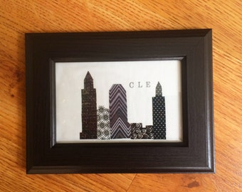 Cleveland Ohio Fabric Art - Cleveland Wall Hanging - Terminal Tower Skyline Art