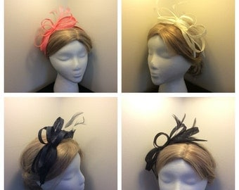 Bow Loops Feather Fascinator Satin Headband - navy blue, ivory, green, red, and coral colors