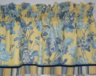 """Blue White Floral Toile Yellow Valance 17"""" x 44"""" Drapery Weight Curtain Can Alter"""