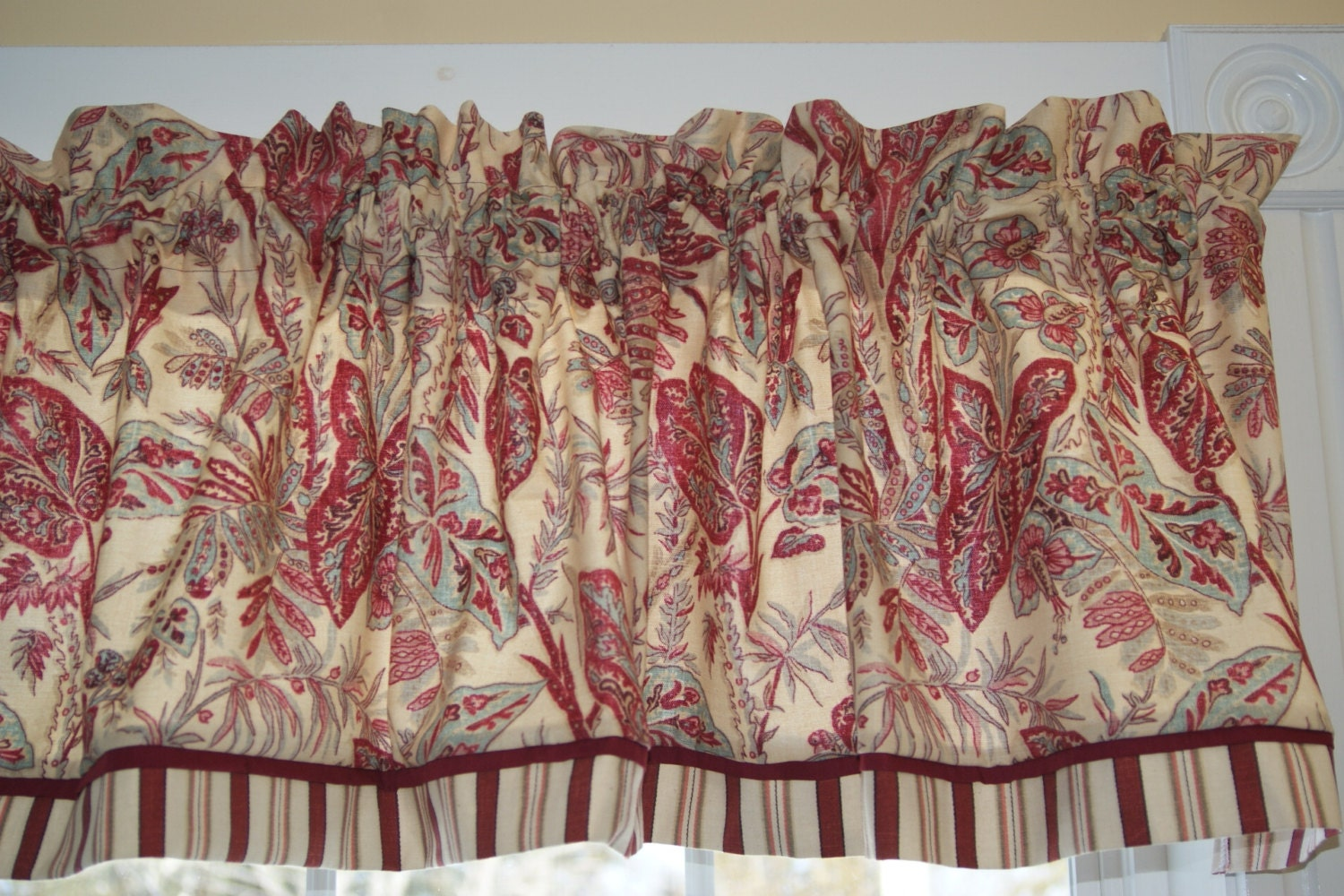 Spice Island Vintange Waverly Red Teal Toile Valance 17