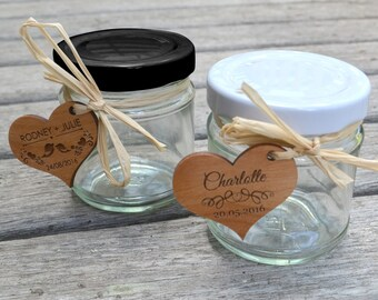 50 x 110ml Round Wedding Favour Jar with Wooden Gift Tag