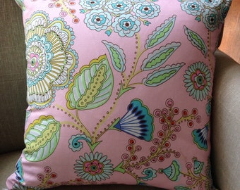 Square Cushion/Pillow Cover in Dena Designs Leanika Jardin Pink with Amy Butler Backing