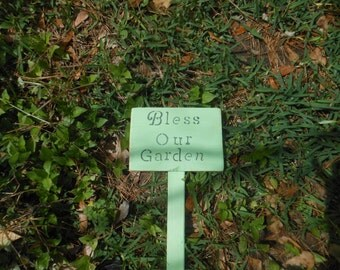 Bless Our Garden Rustic Stake Sign