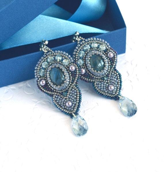 Bead embroidery earrings with labradorite beadwork jewelry