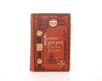 Antique Farm Book - Veterinary Medicine Book - Farm Livestock Book - Gift for Veterinarian - Farm Animal Reference Book - Farmer Gift