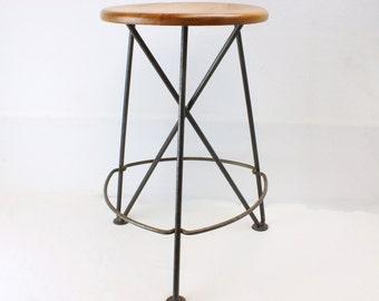 Industrial Modern Style Handmade Reclaimed Elm Stool Hairpin Legs