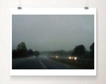 winter photograph road photograph car photograph travel photography grey home decor dark photography dark art road print