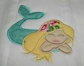 Magical Mermaid Machine Appliqued Burp Cloth
