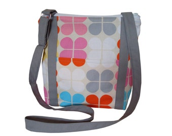 Zippered  Cross body Bag/ Messenger Bag/ iPad Bag/ Adjustable Strap/ White, Gray, Yellow, Pink, Orange, Blue.