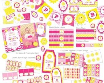 You are my Sunshine Birthday Invitation, Sunshine invite, Sunshine Birthday Party, Photo Invite, Hot Pink, Yellow, Lemonade, Chevron (S3)