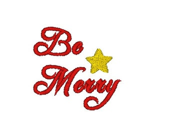 Be Merry Christmas Machine Embroidery Design - Christmas embroidery design - star embroidery