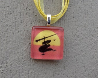 Broadway Musical Miss Saigon Glass Pendant and Ribbon Necklace
