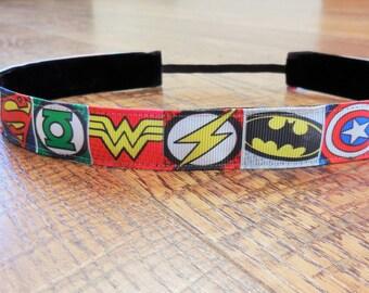 Superhero headband. Superhero half marathon headband, cross fit headband, workout headband, superhero accessory, athletic headband