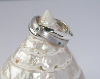 925 Sterling Silver Interlocking Triple Band Rolling Ring Trinity Russian Wedding with Natural Aquamarine gemstones