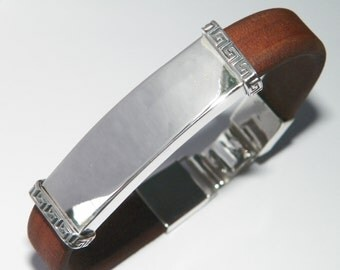 Sterling Silver.925 and Natural Brown Leather Handcrafted Bracelet Bangle Cuff