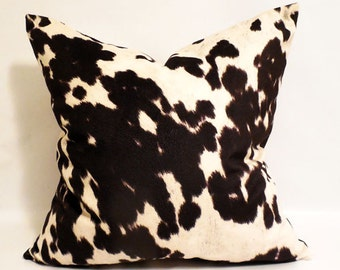 black and white cow print pillow cover