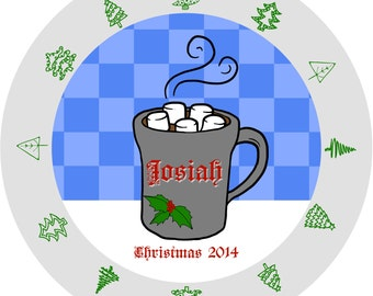 Plate Christmas Hot Cocoa Girl Boy Personalize Date