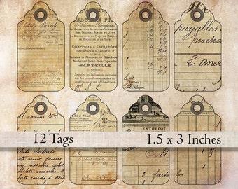 Printable gift tags collage sheet vintage antique grunge aged French digital download office scrapbook ephemera