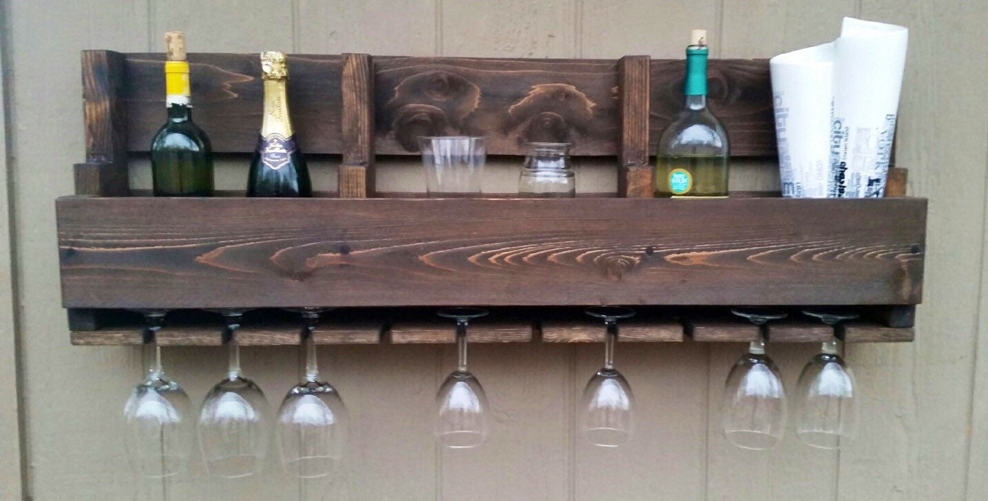 Pallet Art Wine Glass Rack with Storage for Wine by TiyagaDesigns