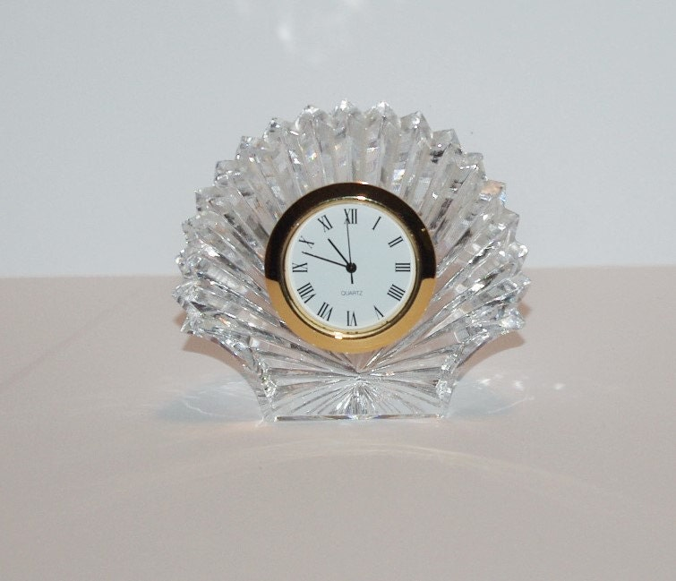 Waterford Crystal Shell Desk Clock With New Battery T342