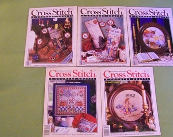 Vintage Cross Stitch & Country Crafts Magazines - Lot Of 5 - C