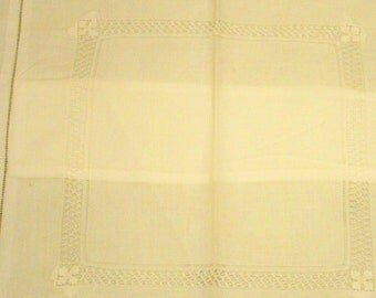 Vintage White Pillow Sham With Cut Work Top And 2'' Flange - 13 1/4'' X 13 1/4'' - Cecelia-Marie - 116