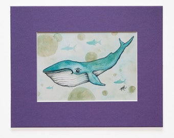 Blue Whale Print, Cute Whale Wall Art, Whimsical Whale Illustration, Whales for Kids, Matted 5 x 7 Art Print