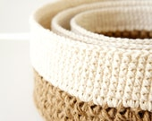 Stacking Baskets - 3 PDF Crochet Patterns - Jute and Cotton Nesting Bowls - Natural Materials - JaKiGu Pattern 301