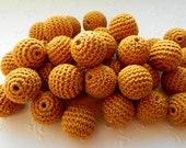 """Crochet beads 5 PCS  3/4""""  20 mm Mustard brown Gold Wooden crochet cotton beads Crocheted bead Round beads Necklaces Ready to ship"""