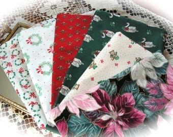 Christmas cotton fabric scraps - 6 different  pieces.