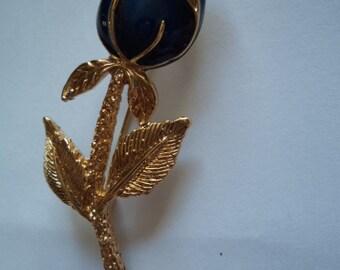 Vintage Goldtone/Rhinestone Blue Rosebud Brooch/Pin
