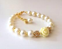 Childrens pearl bracelet, flower girl bracelet, flower girl gift, flower girl jewelry, wedding jewelry , childrens gold braclet