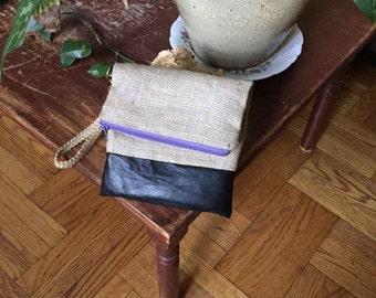 Natural Burlap/Black leather foldover wristlet clutch purse.