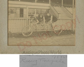 Three men on one bicycle racing triplet rare antique 19th century sport photo