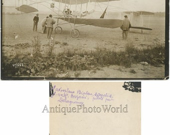 Sanchis biplane airplane antique early aviation photo
