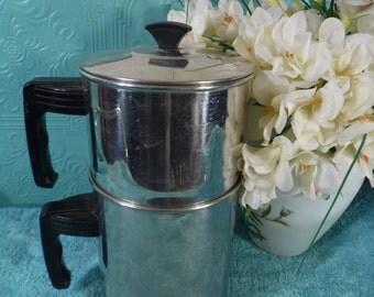 Vintage  Retro Perculator Stainless Steel Coffee Pot Metal Steamer Teapot  Art Deco Madmen   Bakelite Handles