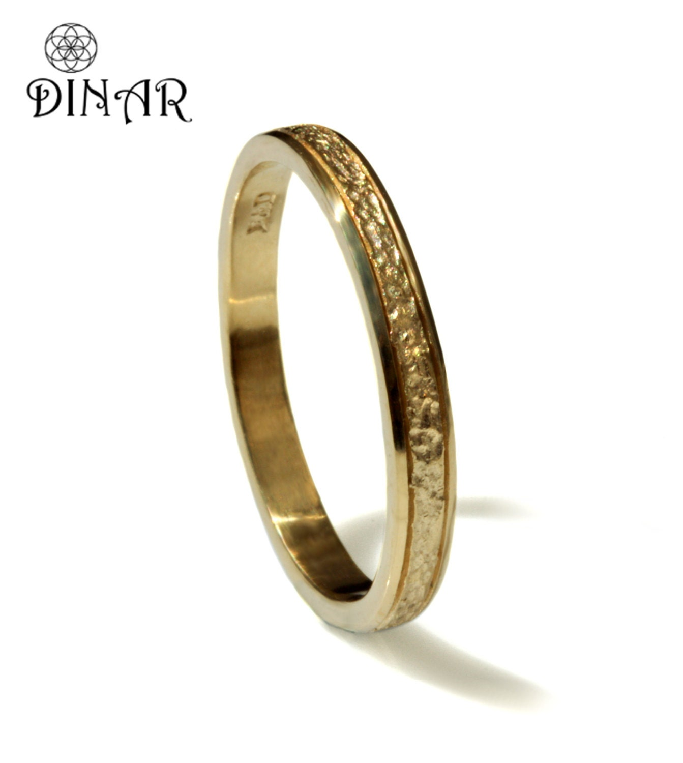 hammered wedding ring thin 14k solid yellow gold wedding