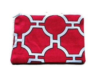 Reusable Snack Bag Red White Cosmetic Bag