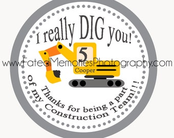 Construction Birthday Party - Construction Party Favor Tags - Construction Party Favor - Excavator Party Favor Tags