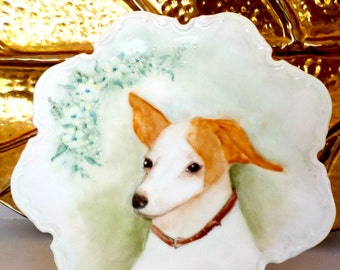 Fox Terrier Hand Painted Plate, Fox Terrier Painting, Bavaria Plate Fox Terrier Dog, Soft Colors, Fox Terrier Lovers