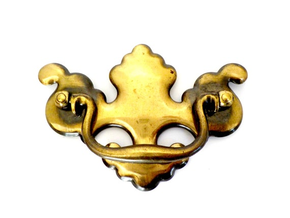 Large Brass Chippendale Drawer Pull or Cabinet Hardware, Very Old, Aged to Perfection,  3 1/2 Inch Back Mount, 3 Available