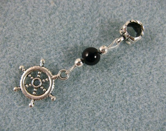 Dreadlock charm dangle with ship's wheel and onyx bead